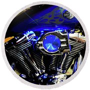 Harleys Twins Round Beach Towel