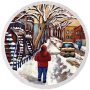 Winter Walk After The Snowfall Best Montreal Street Scenes Paintings Canadian Artist Paysage Quebec Round Beach Towel