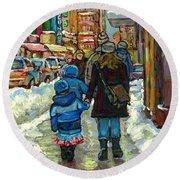 Exceptional Canadian Artist Winter Scene Paintings Downtown Montreal Achetez Scenes De Quebec  Round Beach Towel