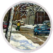 Canadian Artist Winter Scenes Original Paintings Quebec Streets Achetez  Montreal Art Online Round Beach Towel
