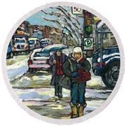 Best Canadian Winter Scene Paintings Original Montreal Art Achetez Scenes De Quebec Cspandau Round Beach Towel