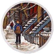 Canadian Art Winter Streets Original Paintings Verdun Montreal Quebec Scenes Achetez Les Meilleurs Round Beach Towel