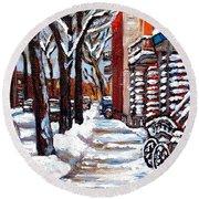 Canadian Winter Scene Paintings Original Art Verdun Montreal Achetez  Paysages De Quebec C Spandau Round Beach Towel