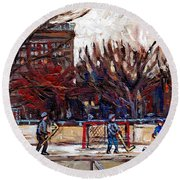 Paysages De Quebec Petits Formats A Vendre Hockey Rink Paintings Psc Original Montreal Street Scenes Round Beach Towel