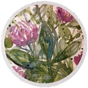 'harmony, Wisdom And Understanding From The Red Clover' Round Beach Towel