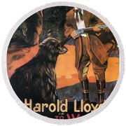 Harold Lloyd In Back To The Woods 1919 Round Beach Towel