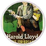 Harold Lloyd In Pistols For Breakfast 1919 Round Beach Towel