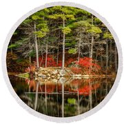Harold Parker State Park In The Fall Round Beach Towel