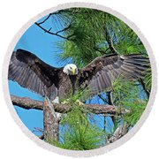 Harriet As I Open Wings Magics Happen Round Beach Towel