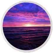 Harrington Beach Sunrise 3 Round Beach Towel