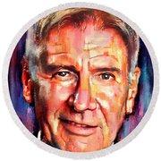 Harrison Ford Indiana Jones Portrait 2 Round Beach Towel