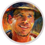 Harrison Ford Indiana Jones Portrait 3 Round Beach Towel