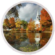 Harrisville New Hampshire - New England Fall Landscape White Steeple Round Beach Towel