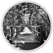 Harry Easterling Bridge Peak Sc Black And White Round Beach Towel