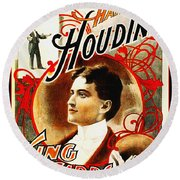 Harry Houdini - King Of Cards Round Beach Towel