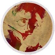 Harry Potter Watercolor Portrait Round Beach Towel