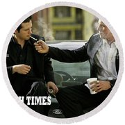 Harsh Times, Starring Christian Bale, Freddy Rodriguez And Eva Longoria Round Beach Towel