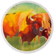 Hartsel Bison Family In Springtime Round Beach Towel