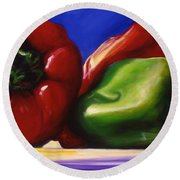 Harvest Festival Peppers Round Beach Towel
