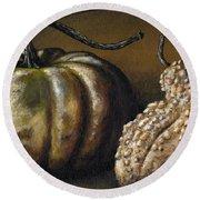 Harvest Gourds Round Beach Towel
