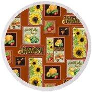 Harvest Market Pumpkins Sunflowers N Red Wagon Round Beach Towel