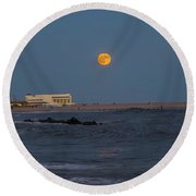 Harvest Moon Over Cape May Round Beach Towel