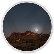 Harvest Moon Over Superstition Mountain Round Beach Towel