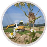 Harvest Mouse And Backhoe Round Beach Towel