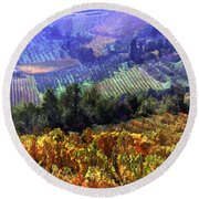 Harvest Time At The Vineyard Round Beach Towel