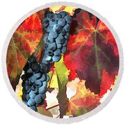 Harvest Time Grapes And Leaves Round Beach Towel
