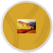 Harvest Time In Wyoming Round Beach Towel