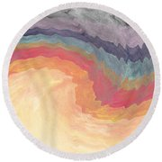 Harvest Wind- Abstract Art By Linda Woods Round Beach Towel