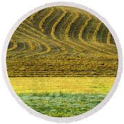 Harvested Fields Of The Palouse Round Beach Towel