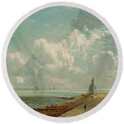 Harwich - The Low Lighthouse And Beacon Hill Round Beach Towel