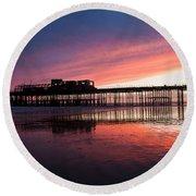 Hastings Pier - Purple Round Beach Towel