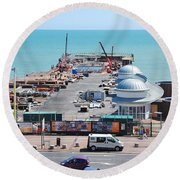 Hastings Pier Rebuild Round Beach Towel