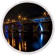 Hathaway Bridge At Night Round Beach Towel