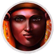 Hathor- The Goddess Round Beach Towel by Carmen Cordova
