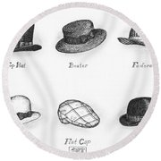 Hats Of A Gentleman Round Beach Towel by Adam Zebediah Joseph