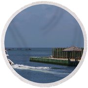 Hatteras Dock And Boat Round Beach Towel