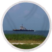 Hatteras Ferry To Ocracoke 2 Round Beach Towel