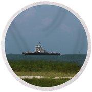 Hatteras Ferry To Ocracoke Round Beach Towel