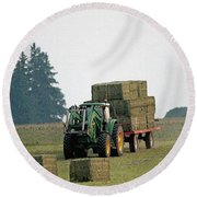 Hauling Hay At Dusk Round Beach Towel