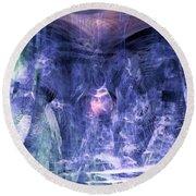 Haunted Caves Round Beach Towel by Linda Sannuti