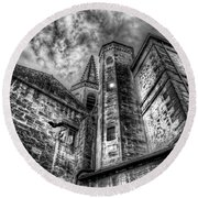 Haunted Church In Black And White Round Beach Towel