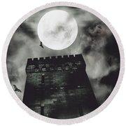 Haunted Dark Castle Round Beach Towel