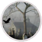 Haunted Halloween Cemetery Round Beach Towel