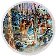 Haunted Swampland Round Beach Towel