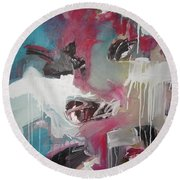 Haunted Voice-blue Red Painting Round Beach Towel