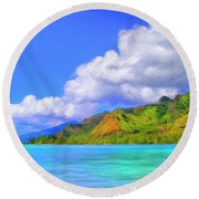 Hauru Point Moorea Round Beach Towel